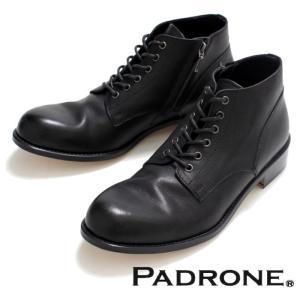 PADRONE パドローネ 再入荷完了 IN ZIP CHUKKA BOOTS BLACK インジップ チャッカーブーツ ブラック|charger