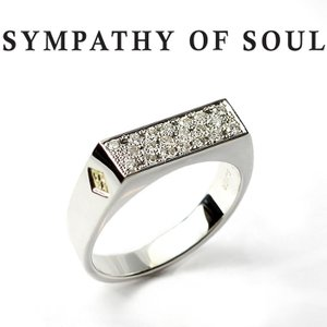 シンパシーオブソウル リング SYMPATHY OF SOUL Signet Ring Rectangle Silver Diamond シグネットリング レクタングル シルバー ダイヤモンド|charger