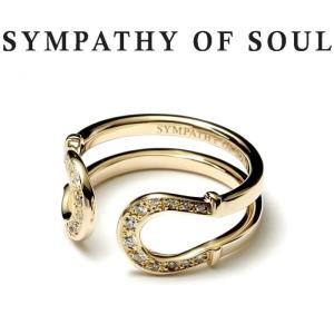 シンパシーオブソウル 指輪 SYMPATHY OF SOUL Double Horseshoe Ring K10Yellow Gold w/Diamond ダブル ホースシュー リング K10 イエローゴールド ダイヤモンド|charger