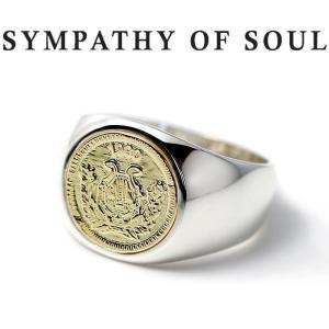 シンパシーオブソウル 指輪 SYMPATHY OF SOUL Classic Coin Ring Good Luck Silver K18Yellow Gold クラシック コイン リング グッドラック シルバー K18YG|charger