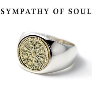 シンパシーオブソウル 指輪 SYMPATHY OF SOUL Classic Coin Ring Hope Sun Silver K18YG クラシック コイン リング シルバー K18イエローゴールド|charger