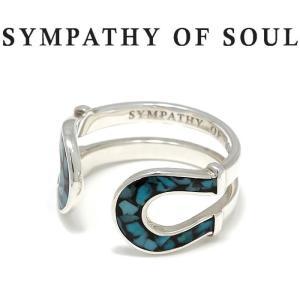 シンパシーオブソウル 指輪 SYMPATHY OF SOUL Double Horseshoe Inlay Ring Silver Turquoise ダブル ホースシュー インンレイ リング シルバー ターコイズ|charger