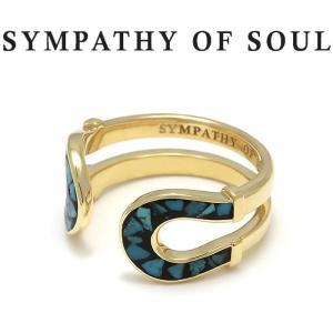 シンパシーオブソウル 指輪 SYMPATHY OF SOUL Double Horseshoe Inlay Ring K18YG Turquoise ダブル ホースシュー インンレイ リング K18YG ターコイズ|charger