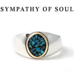 シンパシーオブソウル 指輪 SYMPATHY OF SOUL Oval Signeture Inlay Ring Silver K18YG Turquoise シグネチャー インレイ リング シルバー K18YG ターコイズ|charger