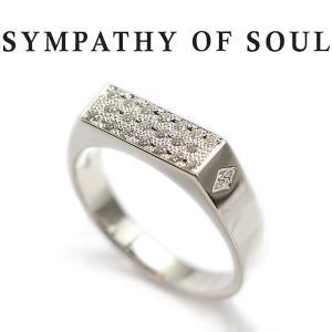 シンパシーオブソウル リング SYMPATHY OF SOUL シグネットリング シルバー キュービックジルコニア Signet Ring -Rectangle Silver w/CZ|charger