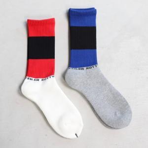 ロットワイラー 靴下 ROTTWEILER ライン ソックス レッド ブルー Line Socks RED BLUE 2色展開 2019秋冬新作 charger