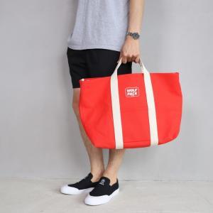 ロットワイラー バッグ ROTTWEILER キャンバス トートバッグ ラージ レッド Canvas Tote Bag Large Red 2019春夏新作|charger