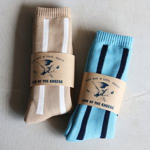 サノバチーズ  靴下 SON OF THE CHEESE ストライプソックス STRIPE SOX ベージュ/ブルー 2色展開 charger