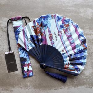 マニプリ 扇子 manipuri センス フェザー&ベルト柄 ブルー feather&belt blue 2019春夏新作|charger