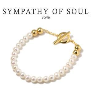 シンパシーオブソウル スタイル レディース SYMPATHY OF SOUL Style パールビーズTバーブレスレット ゴールドコーティング Pearl Beads T-bar Bracelet GOLD|charger