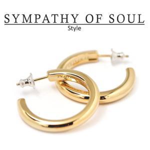 シンパシーオブソウル スタイル レディース SYMPATHY OF SOUL Style ワイドフープピアス ラージ ブラス ゴールド Wide Hoop Pierce - Lg BRASS GOLD|charger