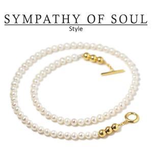 シンパシーオブソウル スタイル レディース SYMPATHY OF SOUL Style パールビーズTバーネックレス ゴールドコーティング Pearl Beads T-bar Necklace GOLD PEARL|charger