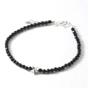 スウィング ブレスレット スター メンズ レディース ペア オニキス ストーンブレス SWING Sm. Onyx Bracelet w/Tiny Star Silver|charger