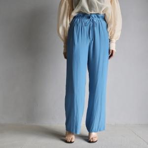 ティッカ レディース パンツ TICCA サテンイージーパンツ SATIN EASY PANTS ブルー BLUE  2021春夏新作 charger