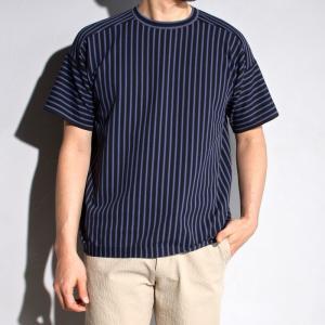ラッピンノット Tシャツ WRAPINKNOT ストライプ ニットTシャツ BLACKBLUE ブラックブルー 2019春夏新作|charger