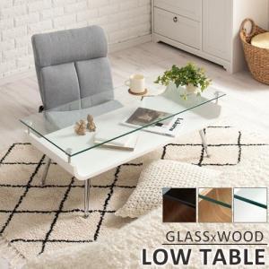 ローテーブル アジアン おしゃれ ガラス リビングテーブル センターテーブル コーヒーテーブル 長方形 シンプル 収納棚 脚の画像
