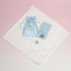 花嫁ハンカチ(名前イニシャル入り )&6ペンスコインセット charm