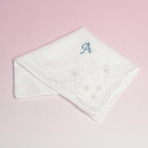 名前入り イニシャル入り 花嫁ハンカチ (レース) 結婚式 フォーマル 名入れ 刺繍 charm
