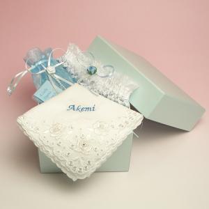 サムシングフォーの3点セット 名入れ刺繍 選べる花嫁ハンカチ charm
