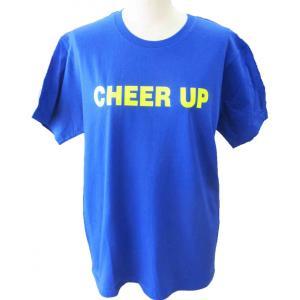 子供サイズ チア Tシャツ CHEER UP  ブルー 蛍光イエローver chedan 02