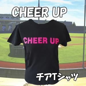 チア Tシャツ CHEER UP  ブラック 蛍光ピンクver|chedan