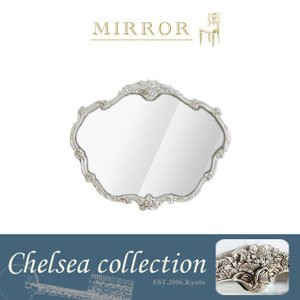 ウォールミラー 壁掛け鏡 アンティーク 姿見 ロココ 姫系 デコラティブ Mサイズ シルバー 55cm x 66cm MR-311