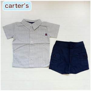 カーターズ 正規品 Carter's -1)チェックの半袖シャツとネイビー(紺)のショートパンツの2点セット (6M 9M 12M 18M 6ヶ月 9ヶ月 12ヶ月 18ヶ月 1歳 1才 2|cherie-box