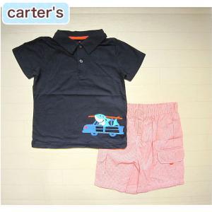 カーターズ 正規品 Carter's -1)サメと車付きネイビー(紺)のポロシャツ&オレンジのストライプ柄ハーフパンツのセット (6M 9M 12M 18M 6ヶ月 9ヶ月 12ヶ|cherie-box