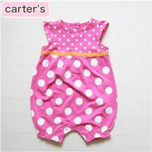 カーターズ 正規品 Carter's -1) ピンク色のドット柄半袖カバーオール ショートオール(クリーパー)(NB 3M 6M 9M 12M 18M 24M 新生児 3ヶ月 6ヶ月 9ヶ月 1|cherie-box