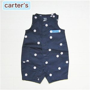 カーターズ 正規品 Carter's -2)野球ボール柄のネイビー(紺)のノースリーブショートオール。(NB 3M 6M 9M 12M 新生児 3ヶ月 6ヶ月 9ヶ月 12ヶ月 1歳 1才|cherie-box