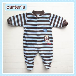 カーターズ(Carter's-1n)アウトレット品 ボーダー×ワンちゃん柄の長袖カバーオール。フリース(NB 3M 6M 9M 12M 18M 新生児 3か月 6ヶ月 9ヶ月 12ヶ月 18ヶ cherie-box