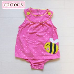 カーターズ 正規品 Carter's -1)ピンクのドットが超かわいいハチのアップリケのワンピース風ロンパース(6M 6ヶ月 9M 9ヶ月 12M 12ヶ月 18M 18ヶ月 1歳 1才|cherie-box
