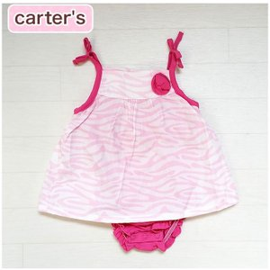 カーターズ 正規品 Carter's -3)ピンクのゼブラ柄ワンピース ロンパースと一体型で便利 (6M 9M 12M 18M 6ヶ月 9ヶ月 12ヶ月 18ヶ月 1歳 1才 2歳 2才 2T 24M|cherie-box