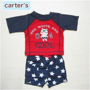 カーターズ 正規品 Carter's -S2)ネイビー×レッドの半袖ラッシュガード&星柄スイムパンツの水着(6M 9M 12M 18M 6ヶ月 9ヶ月 12ヶ月 18ヶ月 1歳 1才 2歳 2|cherie-box