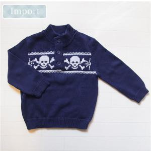 チェロキー(CHEROKEE-2)正規品コットン100%の胸元のスカル柄編込み模様がかっこいいセーター(6M 12M 1歳 1才 18M 2歳 2才 24M 2T 3歳 3才 3T 4歳 4才 4T 5歳 5才|cherie-box