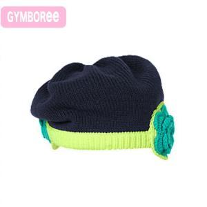 ジンボリー 正規品 (Gymboree -4)ネイビー(紺)×イエローのお花つきニット帽子 (NB 3M 6M 9M 12M 新生児 3ヶ月 6ヶ月 9ヶ月 12ヶ月 1歳 1才 赤ちゃん 女の子)(|cherie-box