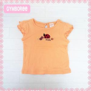 ジンボリー 正規品 Gymboree -5)てんとう虫の刺繍とフリル袖がかわいいオレンジの半袖トップス。(NB 3M 6M 9M 12M 18M 新生児 3か月 6ヶ月 9ヶ月 12ヶ月 18ヶ月|cherie-box
