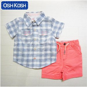 オシュコシュ正規品(OshKosh)白地に青のチェックシャツ&オレンジのショートパンツの2点セット(6M 9M 12M 6ヶ月 9ヶ月 12ヶ月 1歳 1才 赤ちゃん 男の子用)(50cm|cherie-box