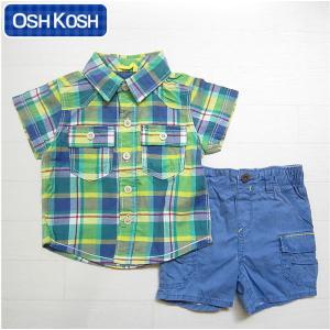 オシュコシュ正規品(OshKosh)ブルー&グリーン(青 緑)のチェックシャツとブルーのショートパンツの2点セット(6M 9M 12M 6ヶ月 9ヶ月 12ヶ月 1歳 1才 赤ちゃん|cherie-box
