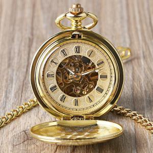 懐中時計 フルゴールドカラー スケルトン 機械式 ダブルオープン
