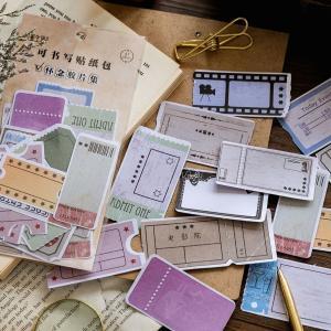 メッセージが書けるシールです レトロな映画館チケット、入場券などのデザイン  サイズ: 90mmx1...