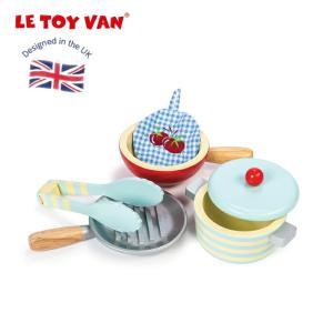 木製 おままごとセット ままごと 木のおもちゃ ごっこ遊び 知育玩具 おもちゃ レトイバン Le Toy Van レ・トイ・バン フライパン お鍋 5点セット|cherrybell