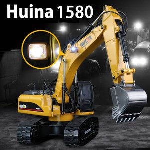 ラジコン リアル ラジコンカー 働く車 車 RC パワーショベル ショベルカー ショベル はたらくくるま 工事車両 重機 土砂 LED HUINA1580 huina580