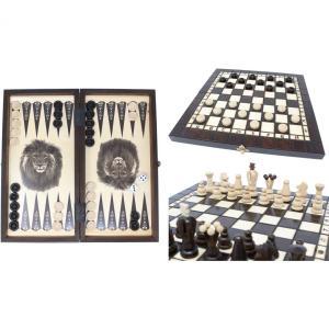 チェスセット/バックギャモン/チェッカー 木製 35cm