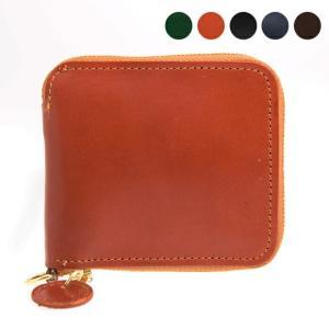【ZIP AROUND WALLET】ジッパーにロゴチャームが付いたラウンドジップ二つ折り財布。ユニ...