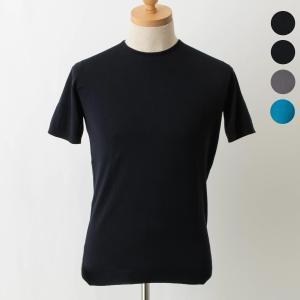 【BELDEN】上質なコットン素材のラウンドネック半袖ニット。素材のシーアイランドコットンは、シルク...