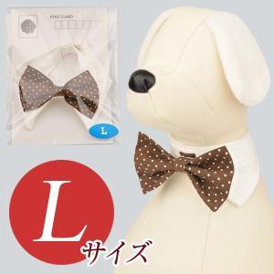 犬用アクセサリー/ボウタイ大(ドット柄 ブラウン)クリックポスト対応商品 布製ハンドメイド|chic-alors