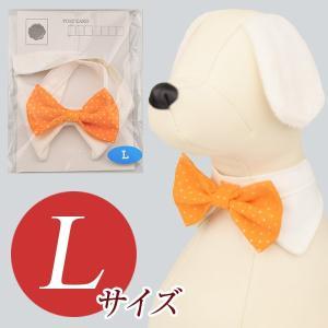 犬用アクセサリー/ボウタイ大(ドット柄 オレンジ)クリックポスト対応商品 布製ハンドメイド|chic-alors