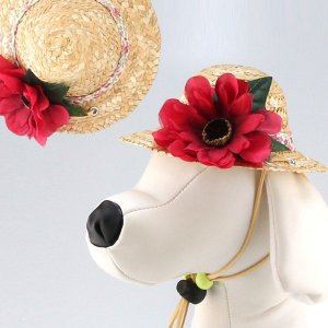 犬用ヘッドドレス  アネモネ 赤系|chic-alors