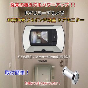 ドアスコープ 拡大モニター 2.4インチ液晶 スコープサイズ 直径14mm 長さ35-50mm 玄関 のぞき穴 防犯 セキュリティ 一人暮らし CHI-DOORSCOPE ポイント2倍♪|chic